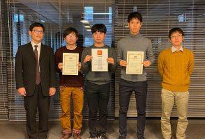 戸羽遼太郎君,萱原健太郎君,冨岡愛也君が2020秋の国内学会発表で表彰されました